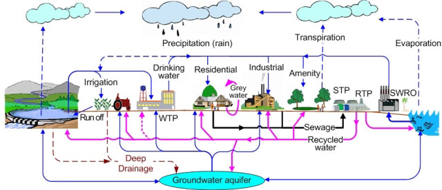 Typical water cycle (blue) including recycled water (lilac) and sewage (black) WTP = Drinking  Water Treatment  Plant.  STP = Sewage or Wastewater Treatment Plant.  RTP = Recycled Water Treatment Plant. SWRO = Seawater Reverse Osmosis (desalination plant)